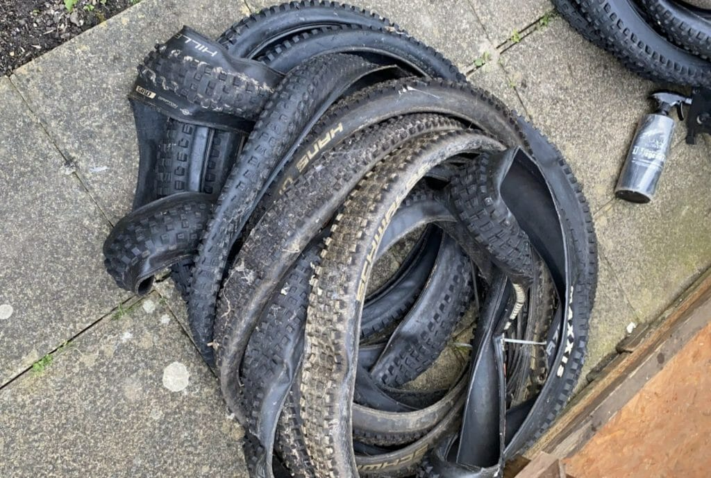 Pile of MTB Tyres - One Track Mind